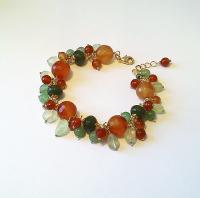 bracelet grappe orange vert, pierres Agate mousse et cornaline