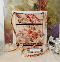 Petit sac bandoulière double ouverture, tissu coton denim fleuri