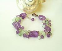 Bracelet Grappe Violet-Vert, Pierre d'Améthyste, Prehnite e
