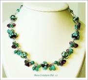 bijoux collier lampwork lampwork necklace verre file collier floral : Collier Floral Verre Lampwork