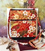 art textile mode fleurs petit sac tissu japonais petit sac bandouliere petit sac rouge et or fleurs petit sac deux ouvertures : Petit sac bandoulière double ouverture, tissu coton japonais rou