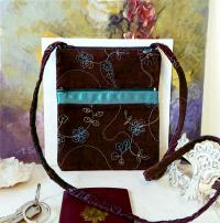 Petit sac bandoulière marron turquoise tissu velours brodé fleur
