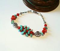 Bracelet pierre de turquoise et corail rouge