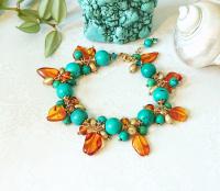 Bracelet grappe pierre de turquoise et ambre de la Baltique