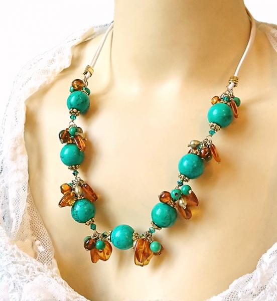 BIJOUX collier turquoise collier pierres collier grappe collier ambre  - Collier grappe pierre de turquoise et ambre