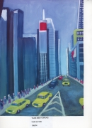 tableau paysages taxis rue building new york : TAXIS New Yorkais