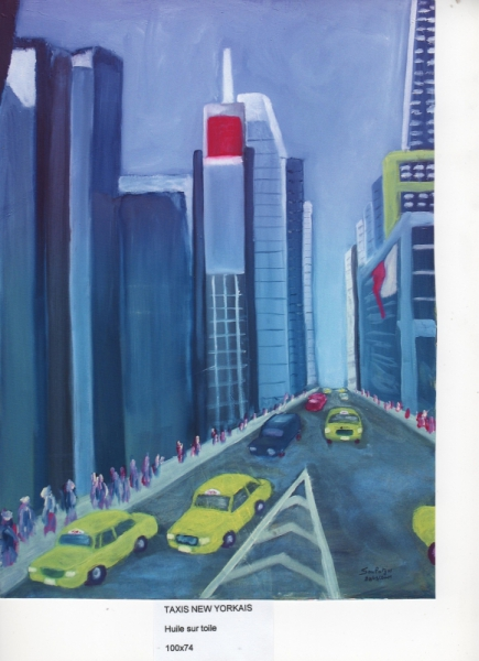 TABLEAU PEINTURE TAXIS RUE BUILDING New York Paysages Peinture a l'huile  - TAXIS New Yorkais