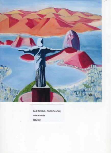TABLEAU PEINTURE RIO CORCOVADO PAIN DE SUCRE MER Paysages Peinture a l'huile  - BAIE DE RIO