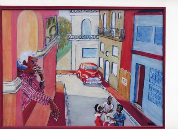 TABLEAU PEINTURE cuba rue danseurs voiture Personnages Peinture a l'huile  - CUBA 1