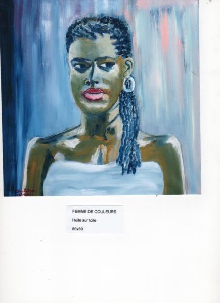 TABLEAU PEINTURE femme couleurs exotisme brune Personnages Peinture a l'huile  - FEMME DE COULEURS
