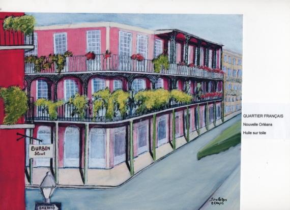 TABLEAU PEINTURE RUE IMMEUBLE Nouvelle Orléans Quartier Français Paysages Peinture a l'huile  - QUARTIER FRANCAIS