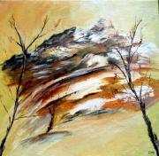 tableau paysages montagne automne arbres : DERNIERS FROIDS