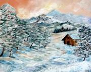 tableau paysages hiver neige chalet : SOLITUDE HIVERNALE