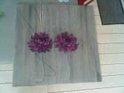 tableau fleurs design violet gris f : pourpre