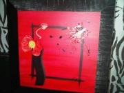 tableau fleurs abstrait noir rouge : red