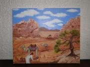 tableau personnages desert chameau jordannie sable : jordanie