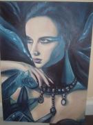 tableau personnages femme bijoux reveuse bleu : Aphrosia
