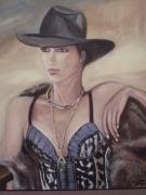 tableau personnages chapeau femme bustier bijoux : Aymie