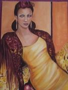 tableau personnages femme espagne jaune chale : Amarilla