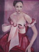 tableau personnages femme portrait robe rouge : Alexane