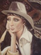 tableau personnages femme chapeau bague portrait : Angèle