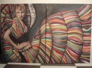 tableau personnages femme couleur portrait : Allegra