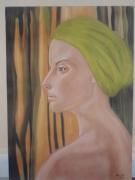 tableau personnages femme bandeau bain portrait : Aimée