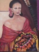 tableau personnages espagne femme chale guitare : Azucar