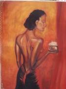 tableau personnages femme rouge orient encens : Adda