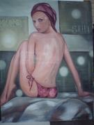 tableau personnages femme rocher detente bain : Aline
