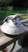 sculpture animaux grenouille boite ceramique raku : grenouille