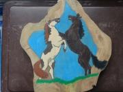 bois marqueterie animaux les chevaux de la bas : les chevaux dela