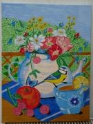 dessin fleurs le cafee en terrasse : café en terrasse