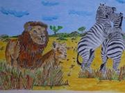 tableau animaux les lion et zebre : afriqua