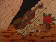 tableau mon violon et la rose : violon62
