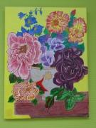 tableau fleurs les jolies fleurs rose : vase fleurie