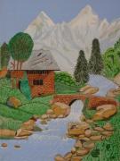 tableau paysages petite maison dans la montagne : ma petite maison