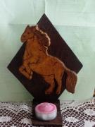 bois marqueterie animaux suport pour bougie : fantasia 3