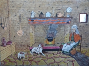 tableau personnages au coin du feu : au coin du feu