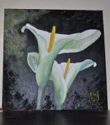 tableau fleurs fleur arums noire nuit : nuit d'arum