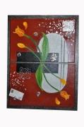 tableau fleurs fleur tulipe orange rouge : miroir de tulipes