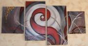 tableau abstrait flamme rouge abstrait quadri : la flamme rouge