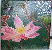 tableau fleurs fleur lotus rose vert : Fleur de lotus