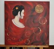tableau femme asiatique japonaise rouge : japonique