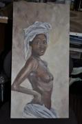 tableau personnages femme afrique nue noire : femme d'afrique