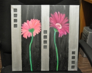 tableau fleurs fleur gerbera rose argente : Gerbera
