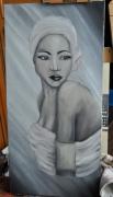 tableau personnages femme afrique portrait visage : femme black and white