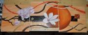tableau fleurs fleur magnolia lune orange : magnolia lune orangé