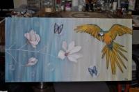 perroquet, papillons bulles & magnolia
