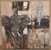 tableau animaux elephant afrique savane comtemporain : éléphant